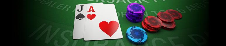 blackjack table, cards and chips